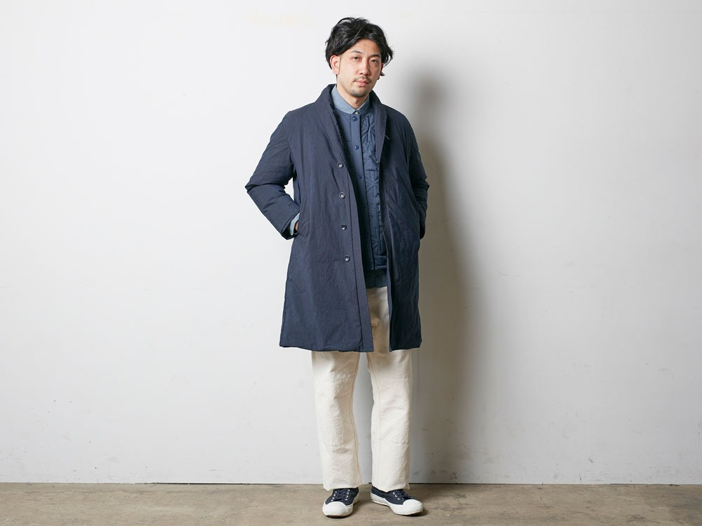 Indigo C/N Down Long Coat L Indigo9