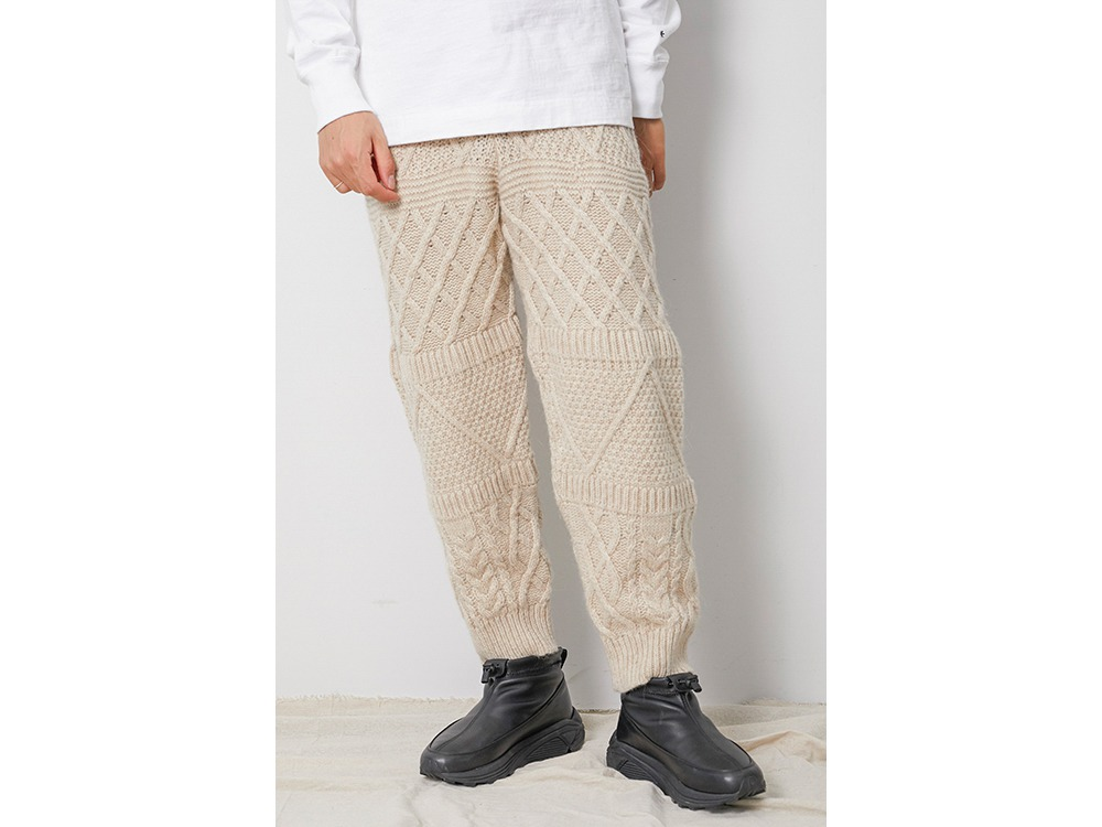 Alpaca Knit Pants S Ecru