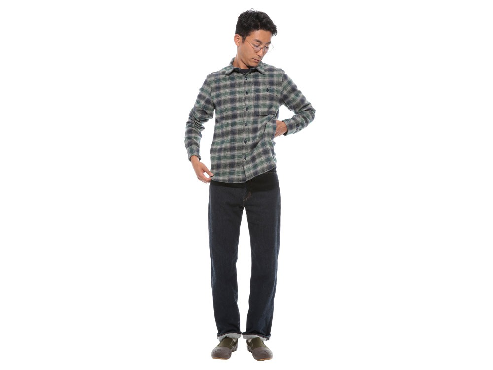 Hand-Dyed Heavy Flannel Check Shirt M Green1