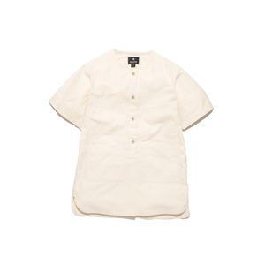 ヘリンボーンノーカラーシャツ