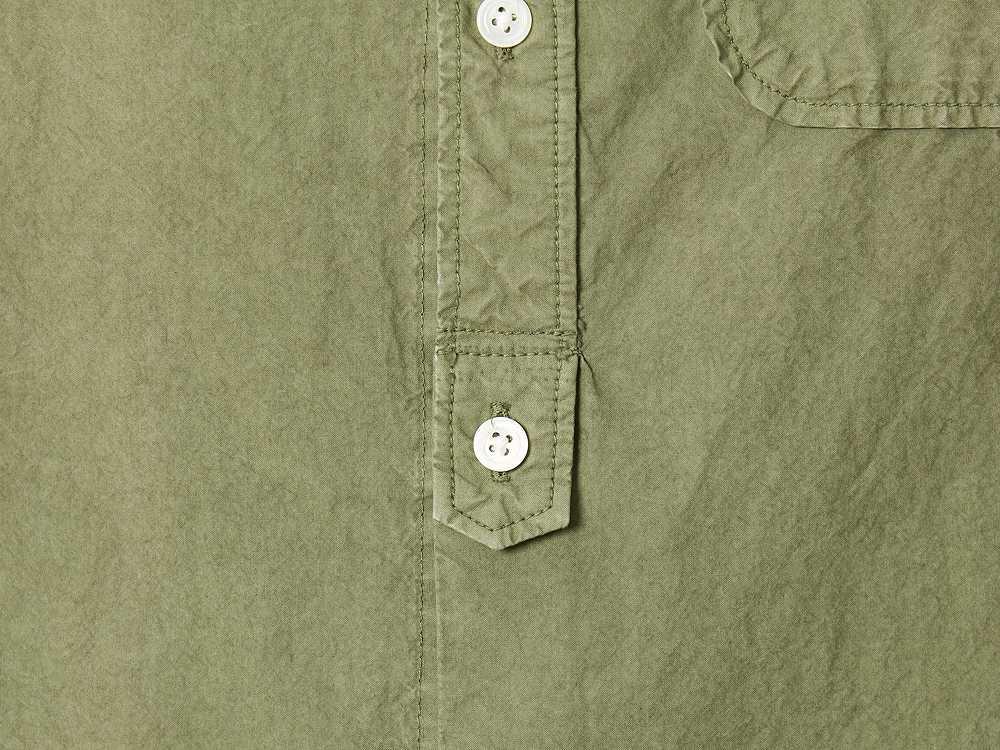 オーガニックコットン スタンドカラー シャツ S エクリュ