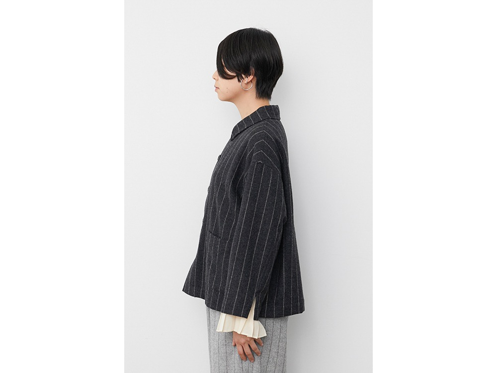 Striped Wool Jacket 1 Charcoal×Beige