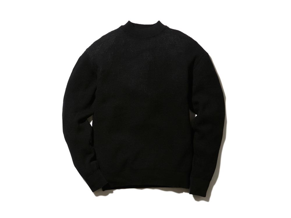 W/Ny Waffle Pullover S Black