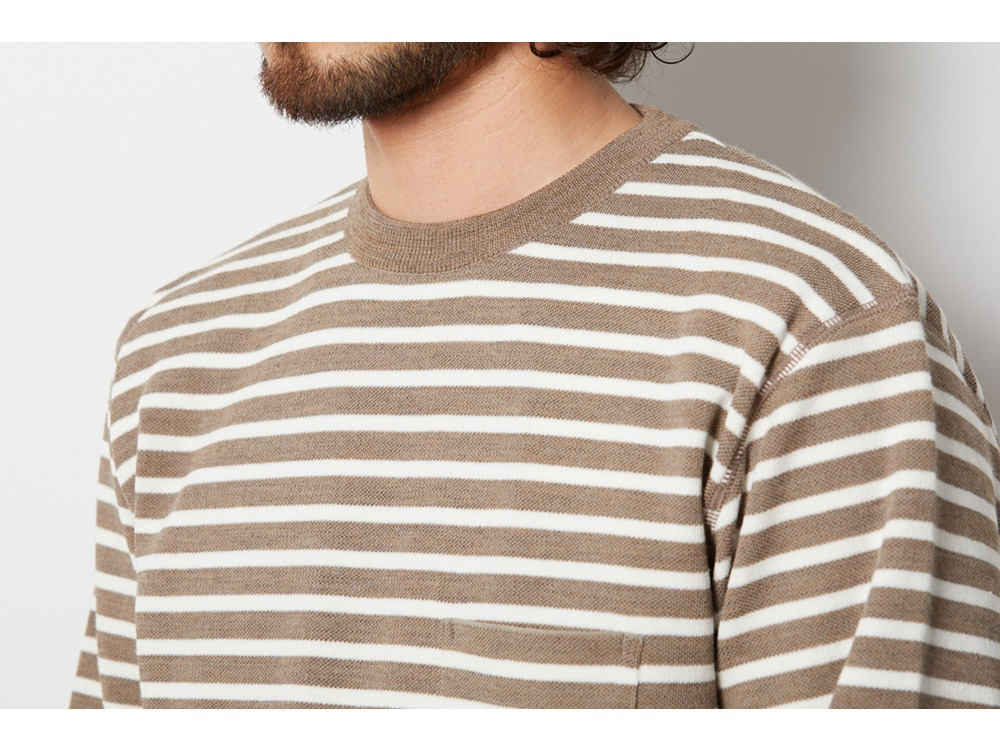 Wool Linen/Pe Crewneck Long Sleeve M GY