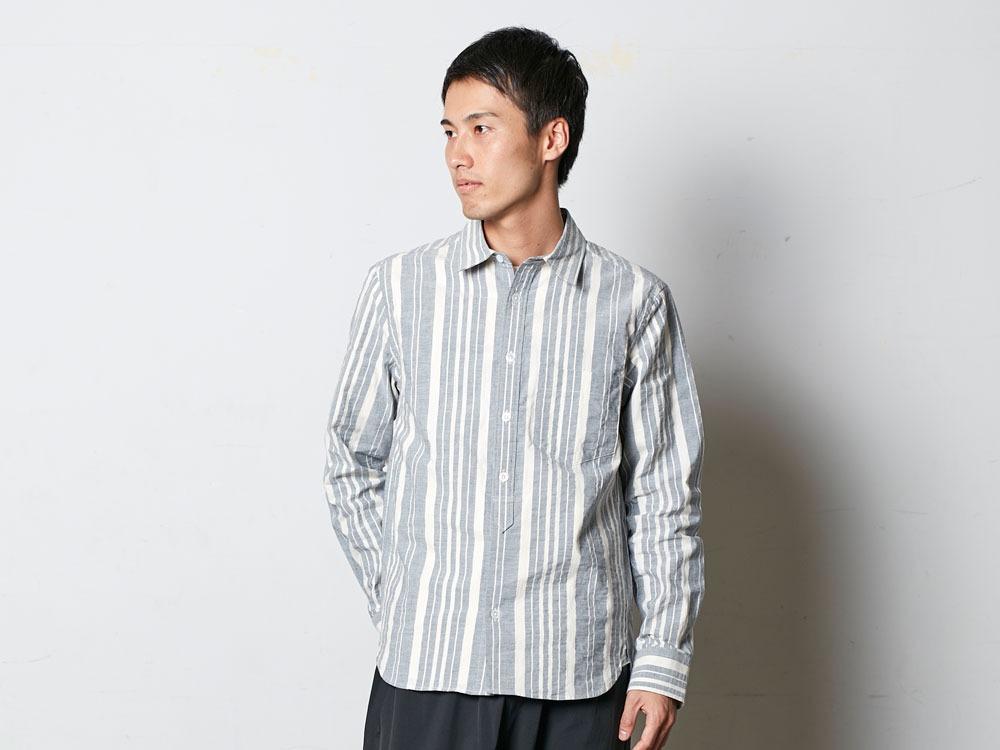 オーガニックストライプシャツ  M ネイビー