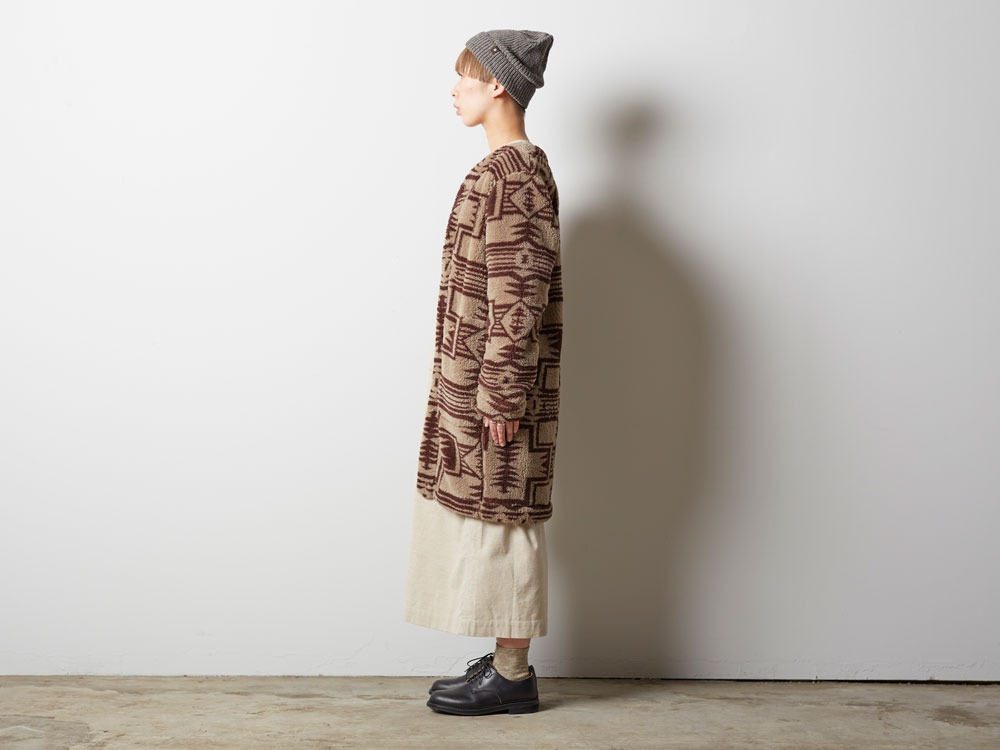 Printed Fleece W's Coat 2 Beige×Brown1