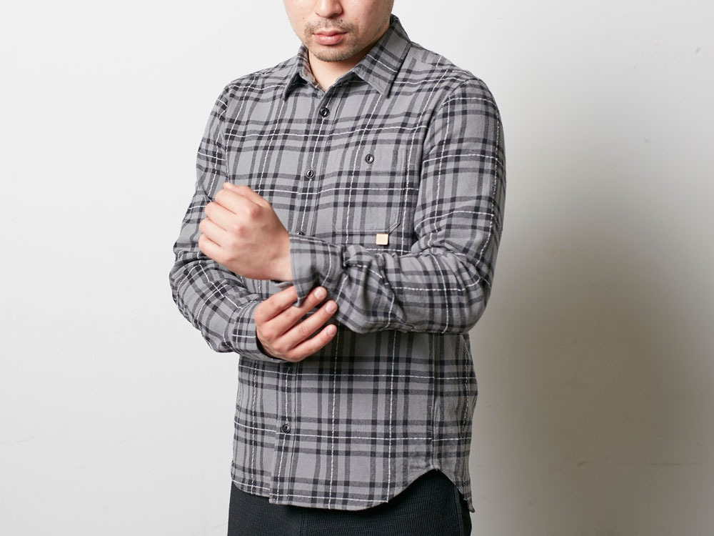 Check Flannel Shirt M Grey4