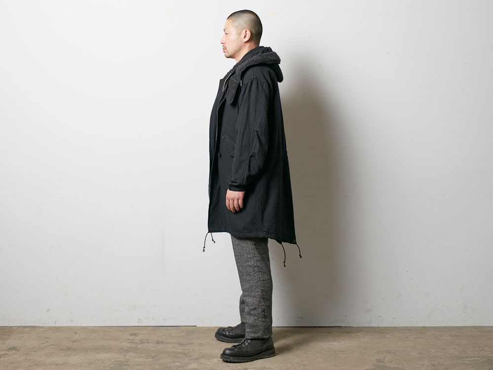 ウールミリタリーライニングコート L Black3