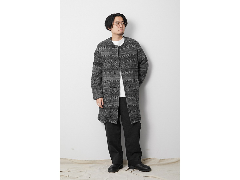 Shetland Cotton JQ Tweed Coat 1 Grey