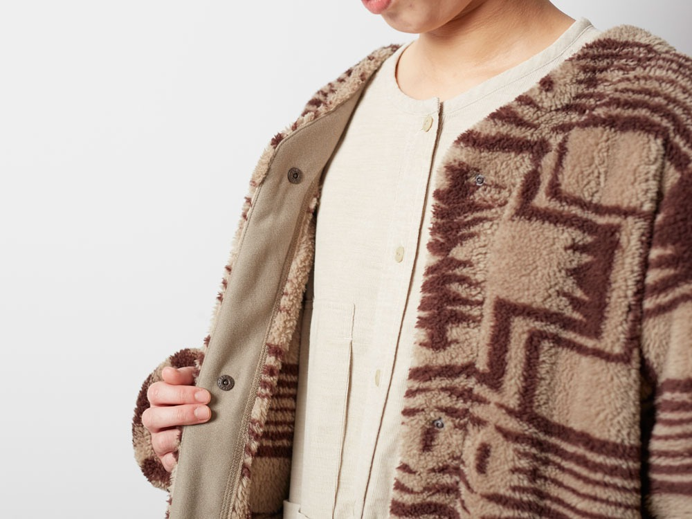 Printed Fleece W's Coat 3 Beige×Brown4