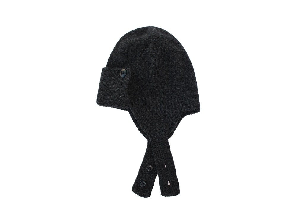 Wool Knitted Flight Cap One Black