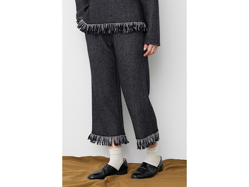 Fringe Knit Pants 1 Grey