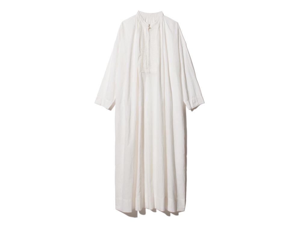 Hand-woven Cotton Pleated Dress 1 Ecru