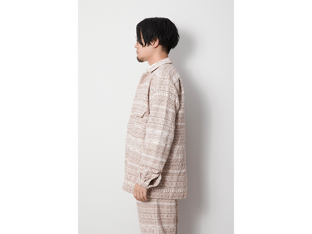 Cotton Silk Jacquard Jacket M Ecru