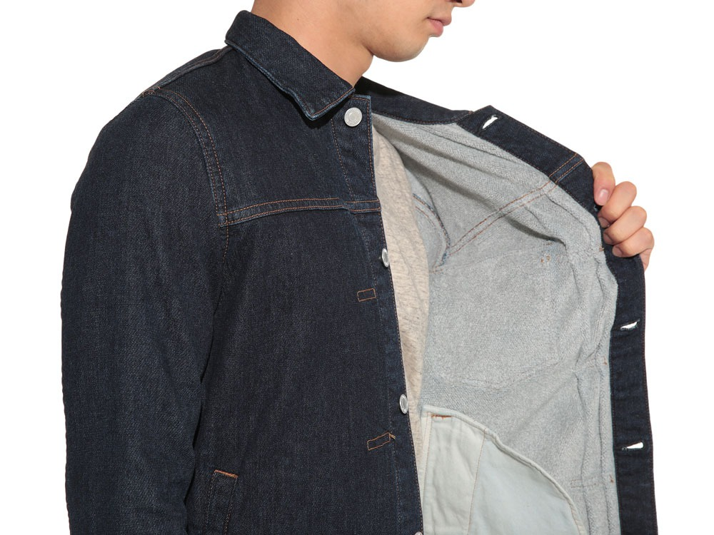 Pile Denim Jacket S Hard Wash5