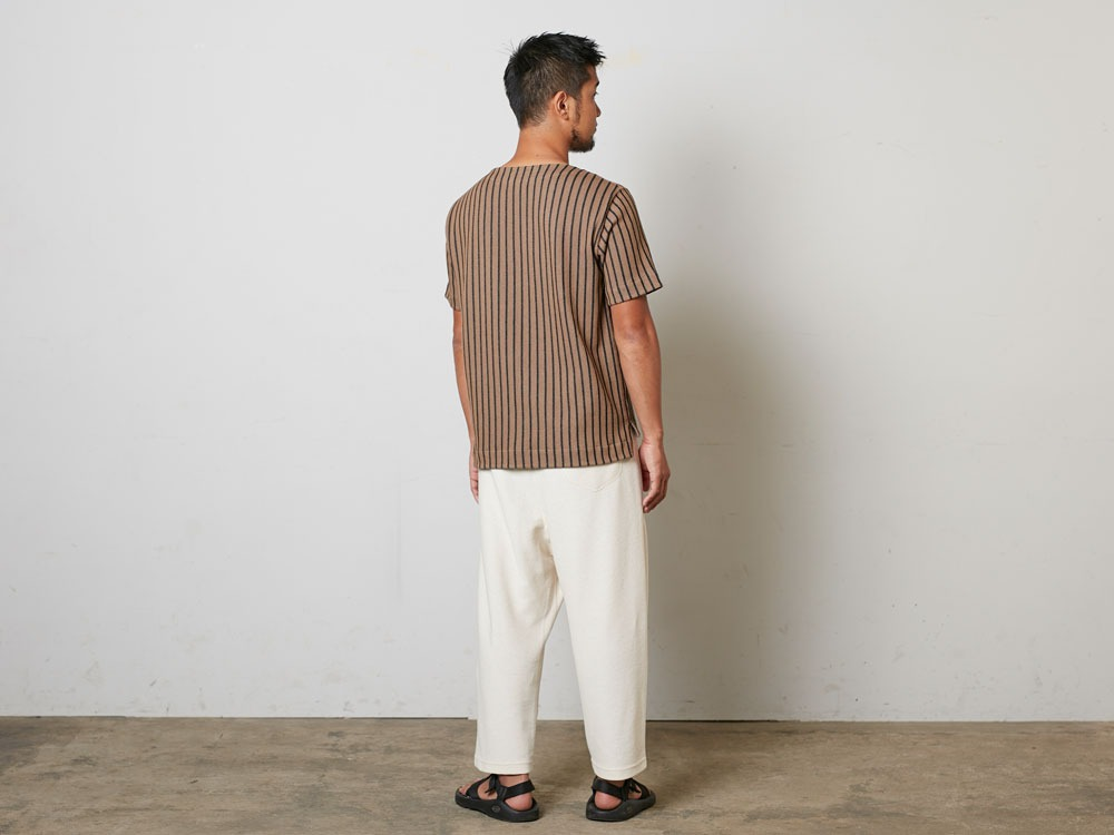 CottonLinenStripedPants XL Brown×Black3