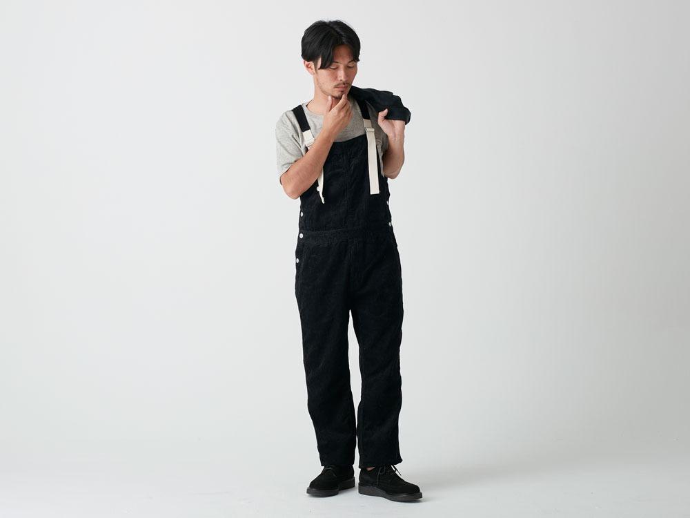 Linen corduroy overalls S Black1