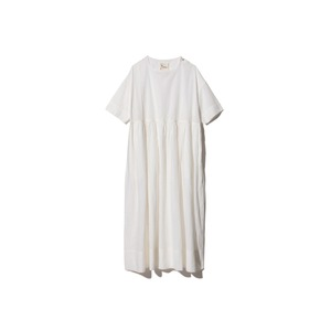 Hand-woven Cotton Gathered Dress 1 Ecru