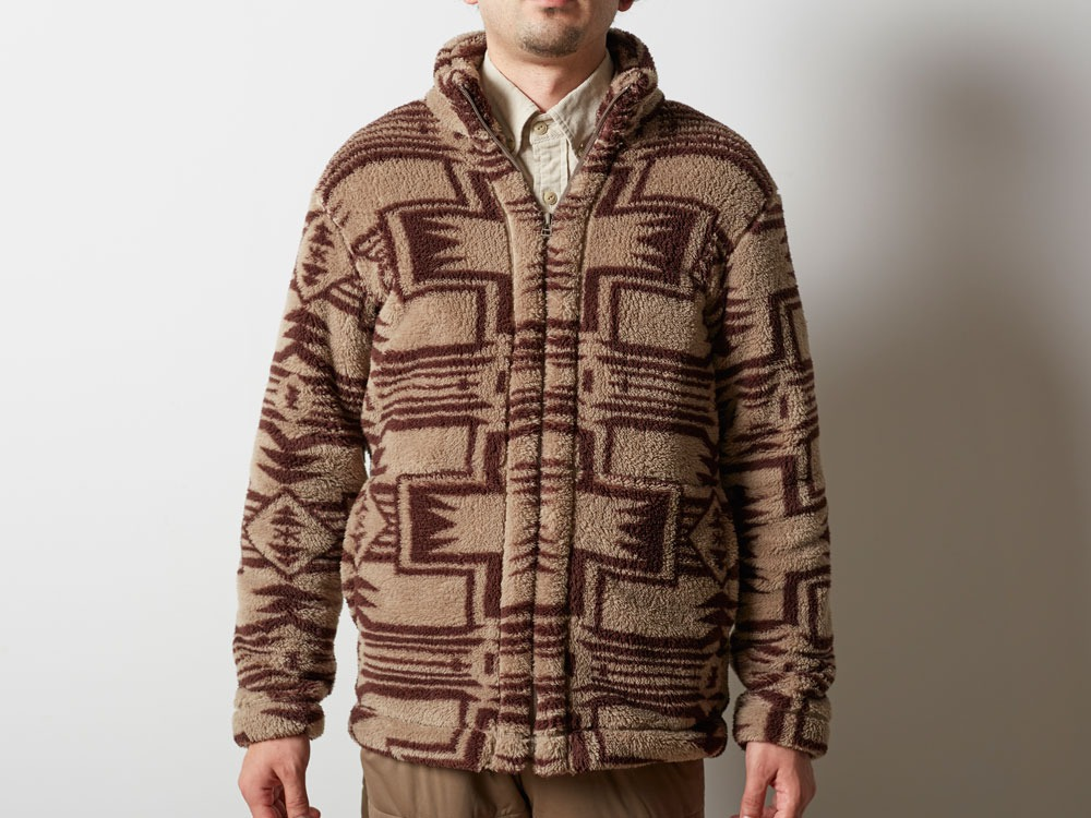 Printed Fleece Jacket M Beige×Brown4