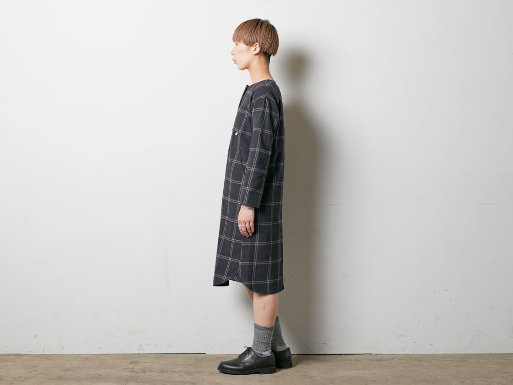 W's Check Heavy Flannel Dress 1 Black2