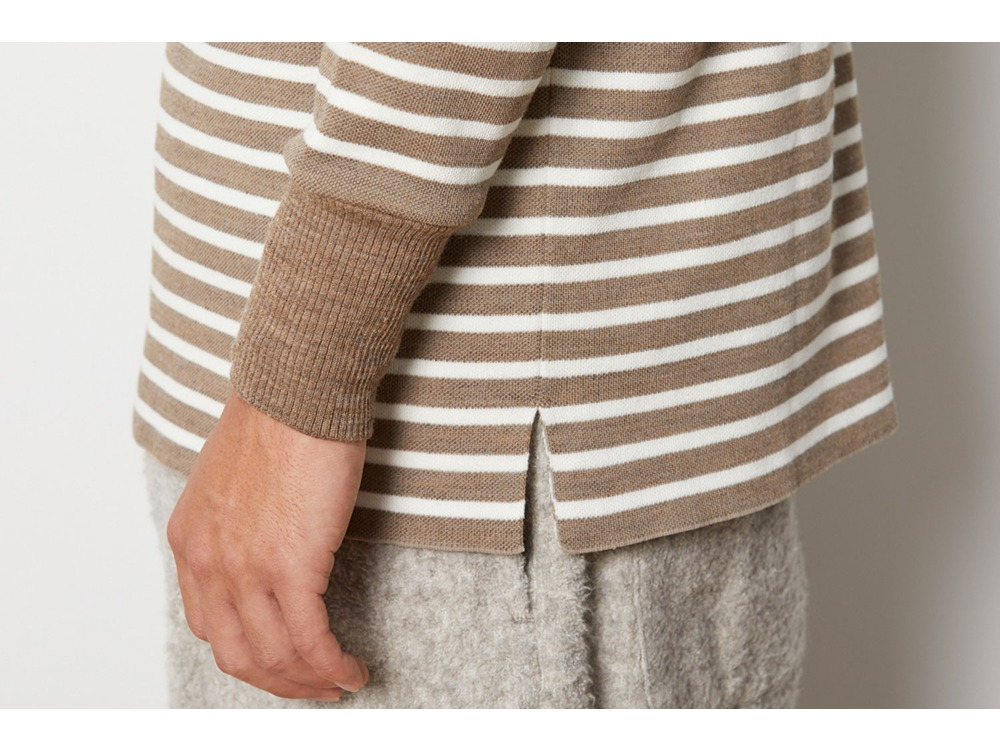 Wool Linen/Pe Crewneck Long Sleeve S BRWH