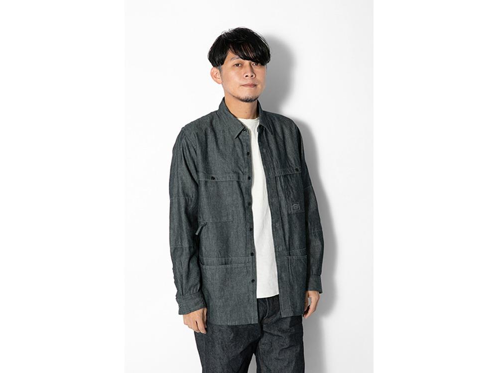 TAKIBI Light Denim Utility Shirt M Black