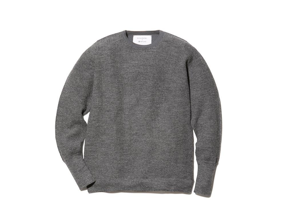 Waffle Crewneck Sweater L Grey