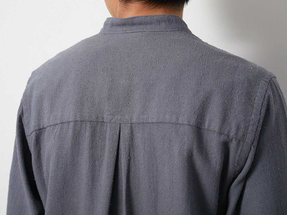 Cotton Silk Serge Shirt L Khaki