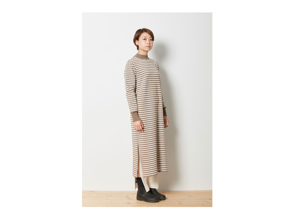 Wool Linen/Pe Dress 1 Brown×White
