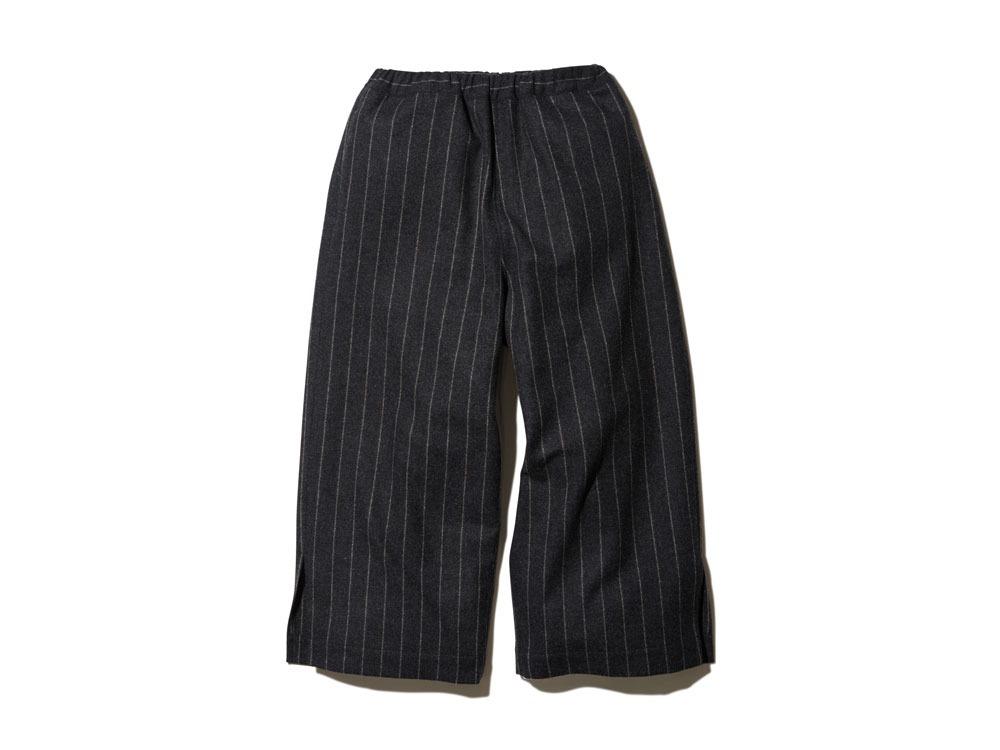 Striped Wool Pants 2 Charcoal×Beige