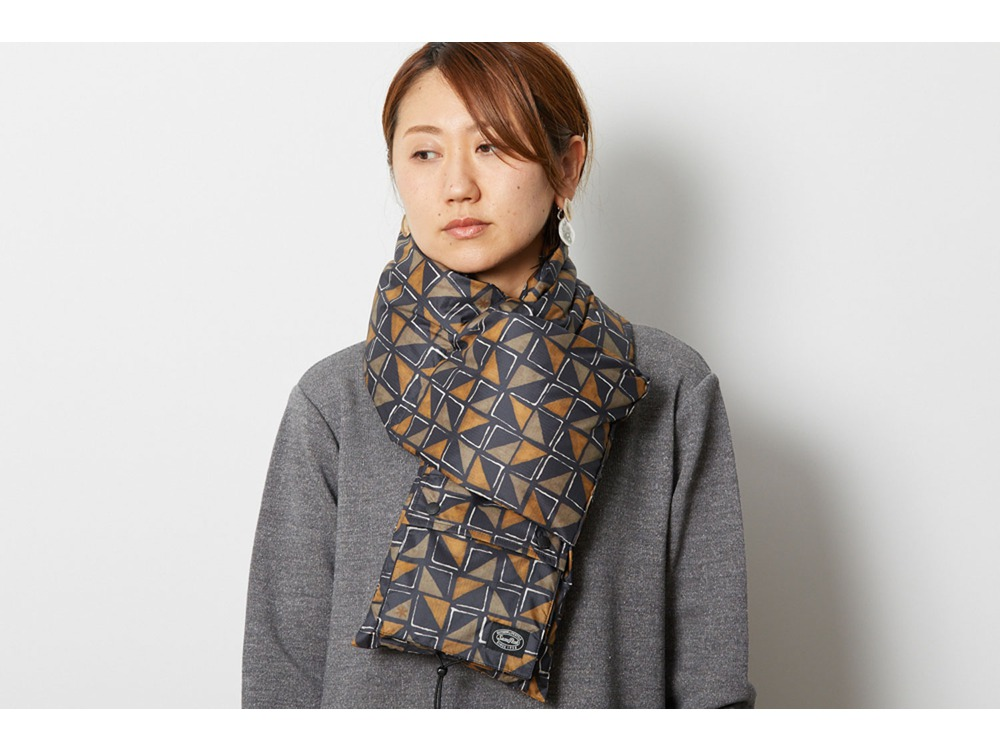 Printed Recycled Down Stole One Khaki
