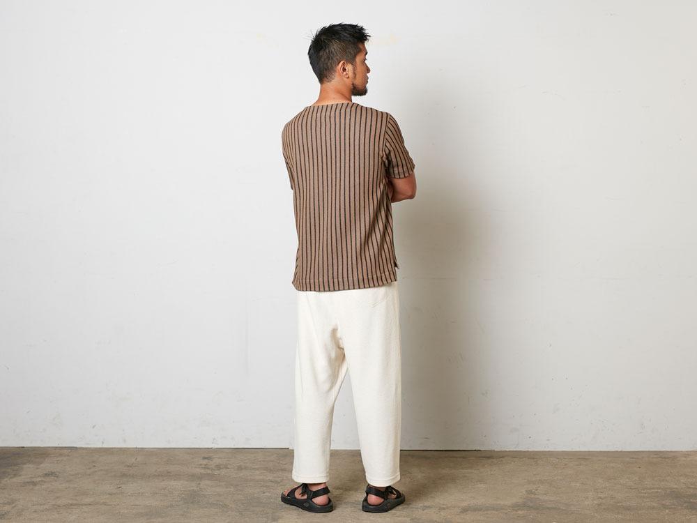 CottonLinenStripedTshirt S Black×Ecru3