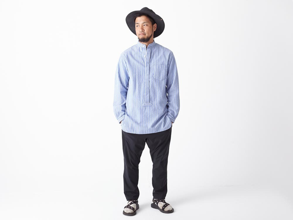 Striped Long Shirt M White1