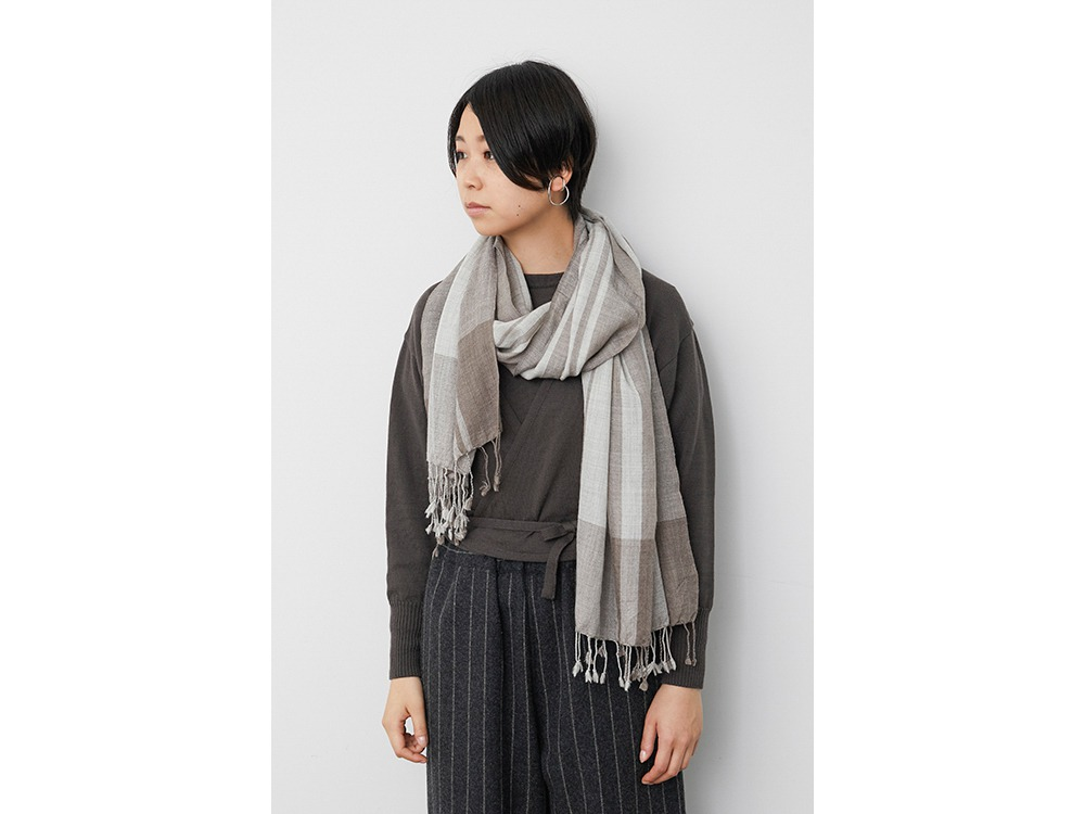 Wool Silk Striped Stole one Grey×Brown