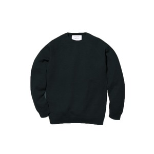 Raglan Crew Neck Knit Sweater L Black