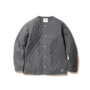 Quilted Flannel Cardigan M Charcoal
