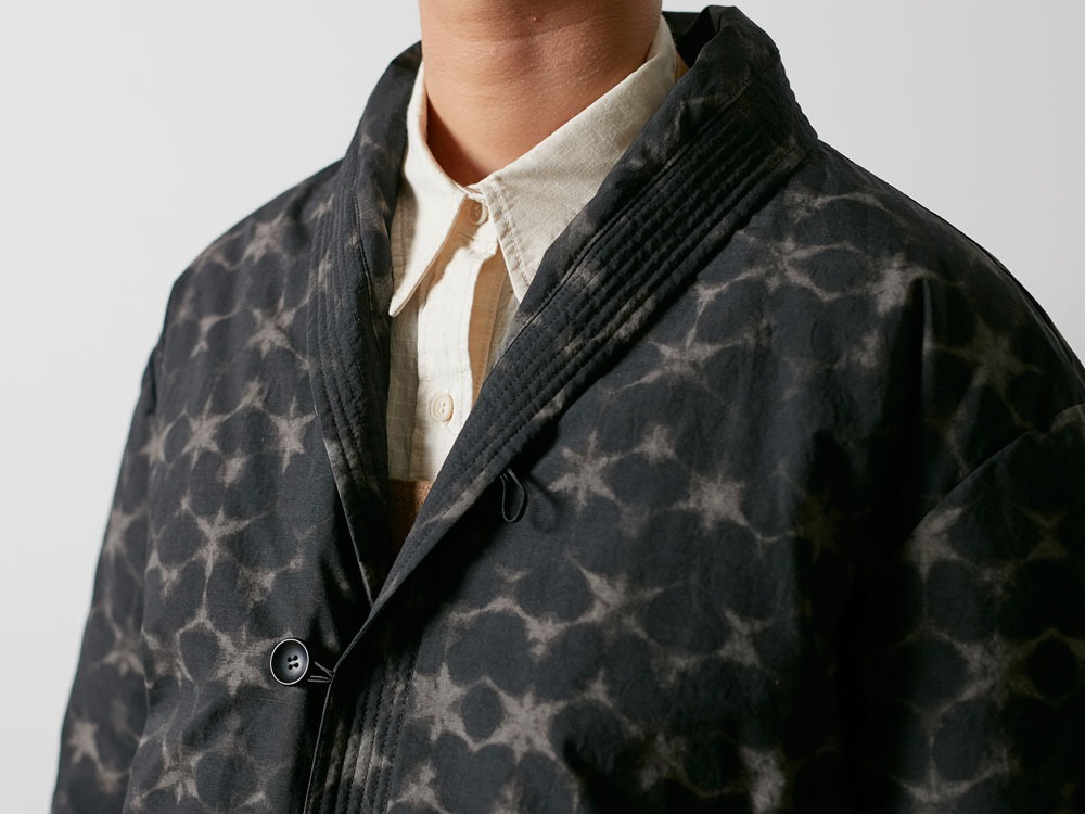 Indigo C/N Down L Coat Print L Black5