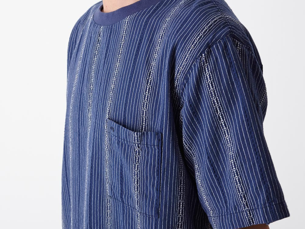 Dobby Striped Pullover S Navy5