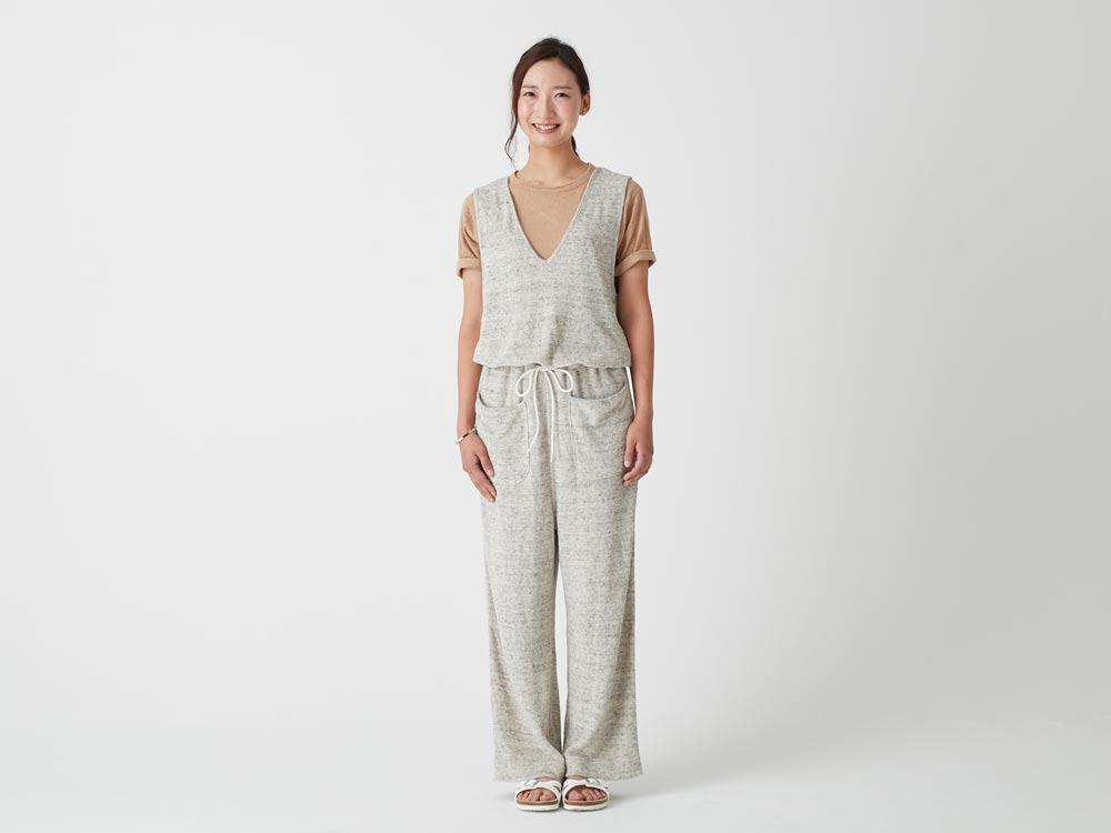 W's Linen Pile Overalls 1 Ecru2