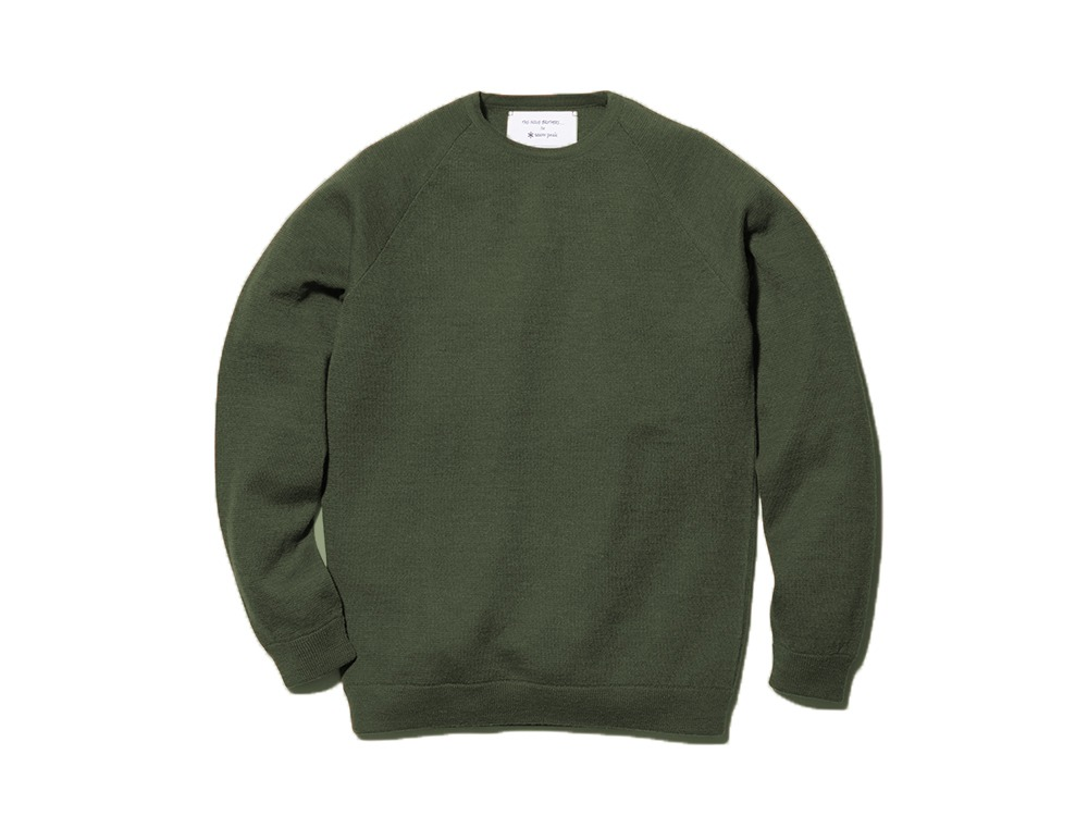 Raglan Crew Neck Knit Sweater M Khaki