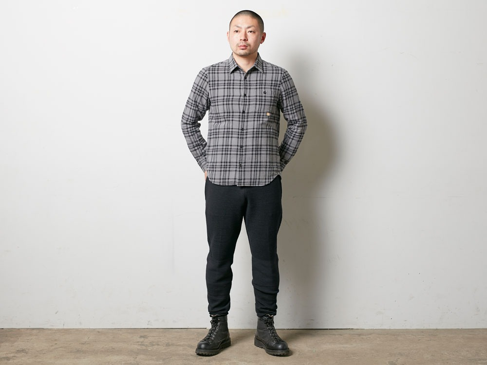 Check Flannel Shirt M Grey1