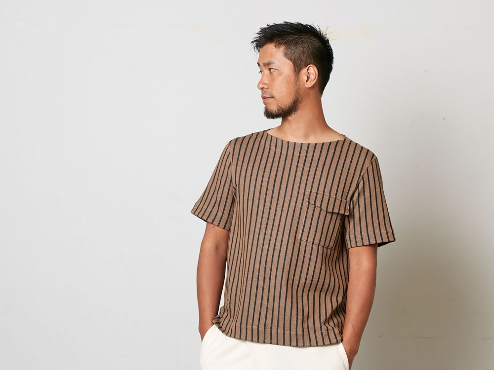 CottonLinenStripedTshirt XL Brown×Black8