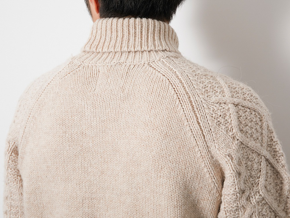 Alpaca Knit Turtleneck Pullover M Ecru