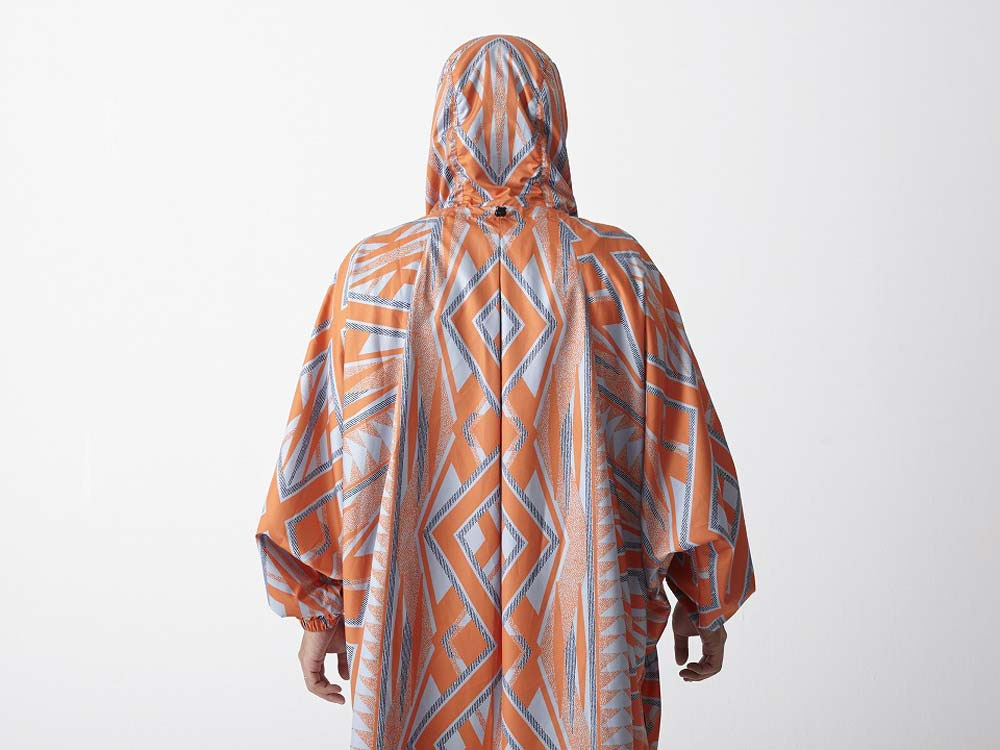 Printed Poncho:Solid Landscape 2 Orange9