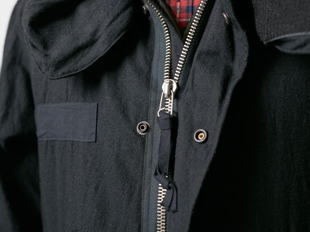 ウールミリタリーライニングコート L Black7