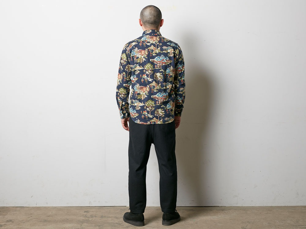Mountain Printed Shirt M Navy4