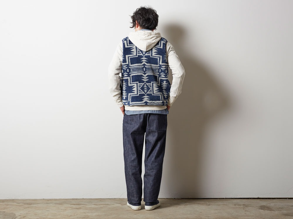 Printed Fleece Vest L Navy×Grey2
