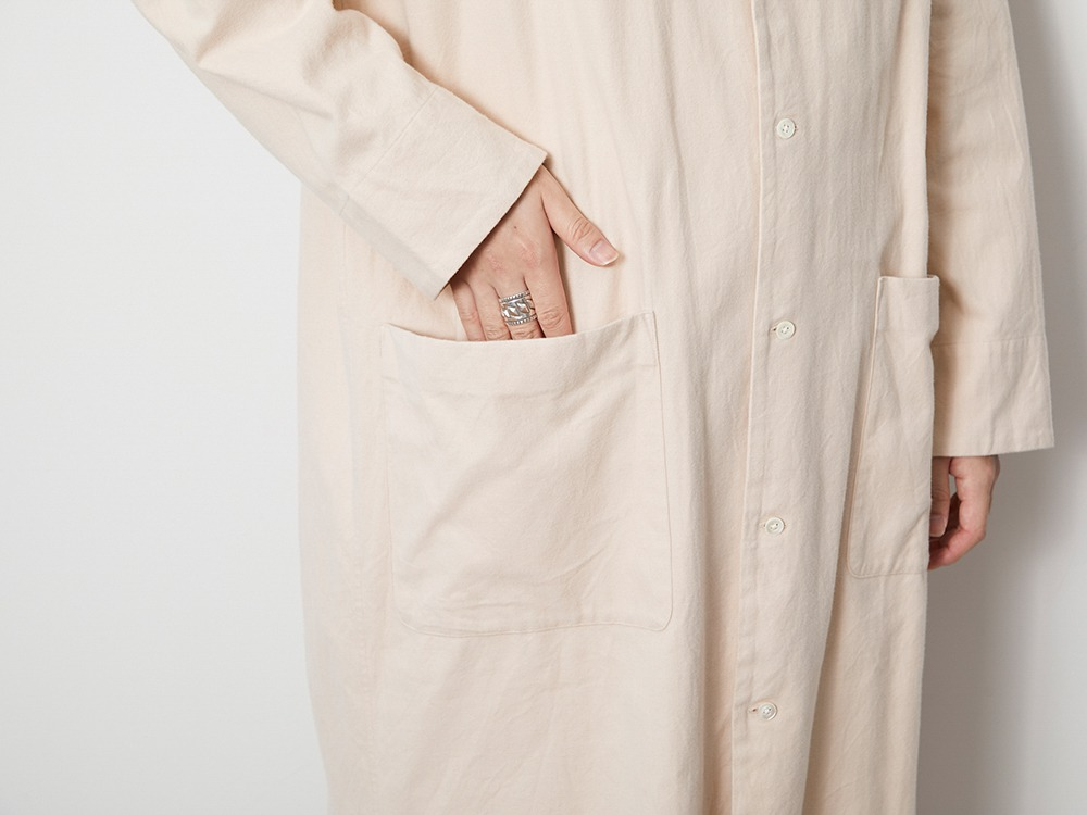 Organic Cotton Suede Long Shirt L Ecru
