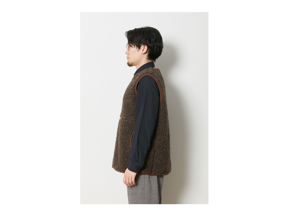 Wool Fleece Vest M Brown