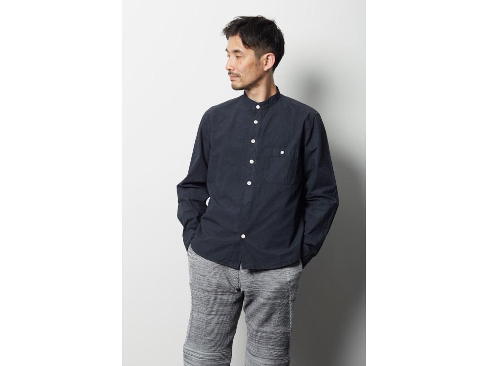 オーガニックコットンスタンドカラーシャツ M ベージュ